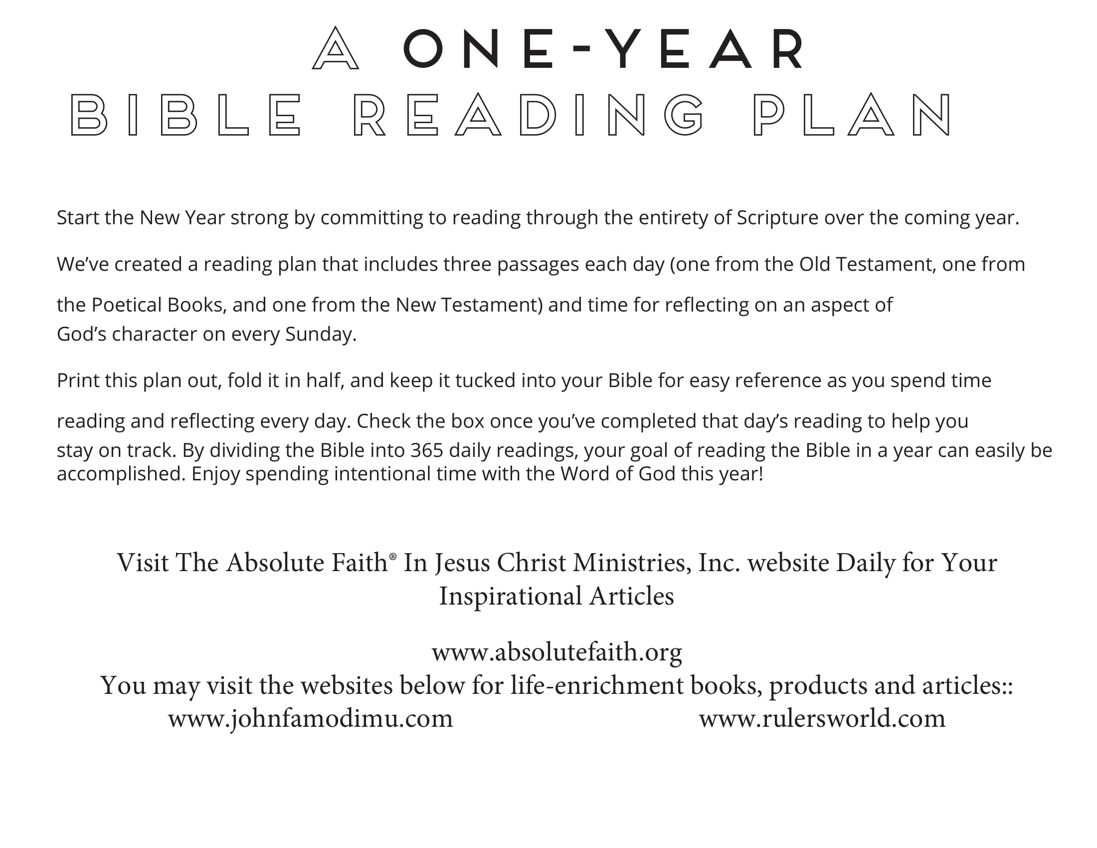 Year 2019 Bible Reading plan from Bishop (Dr.) John Famodimu-1